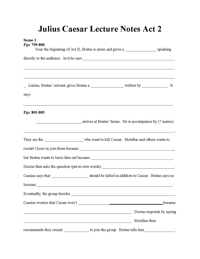 julius caesar act ii lecture note fill-in worksheet preview image 1