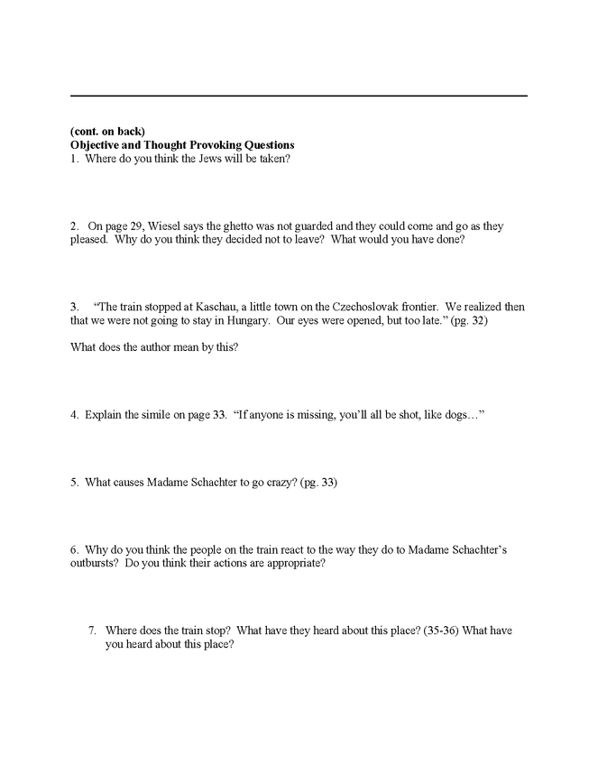 """""""night"""" study questions pgs. 27-37 preview image 2"""