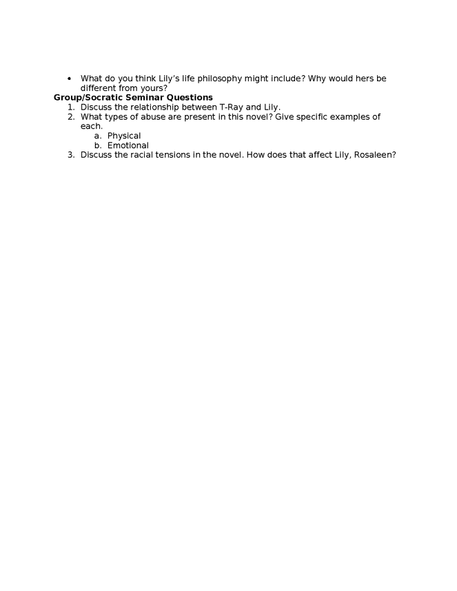 secret life of bees study guide ch 1-3 preview image 2