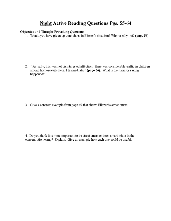 """""""night"""" study questions pgs. 55-64 preview image 1"""