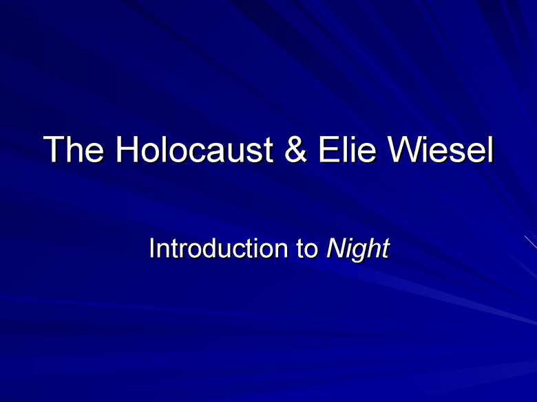 the holocaust and elie wiesel preview image 1