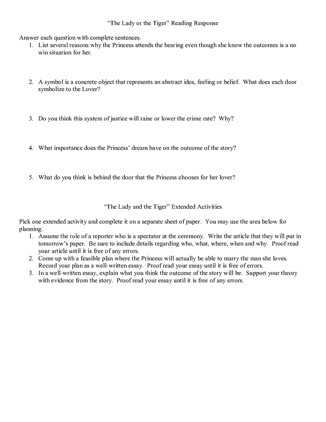 The Lady or the Tiger: Reading Guide, Vocabulary, and ...
