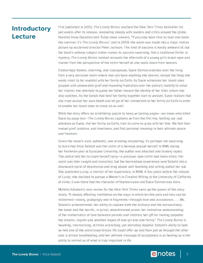 the lovely bones enotes lesson plan preview image 3