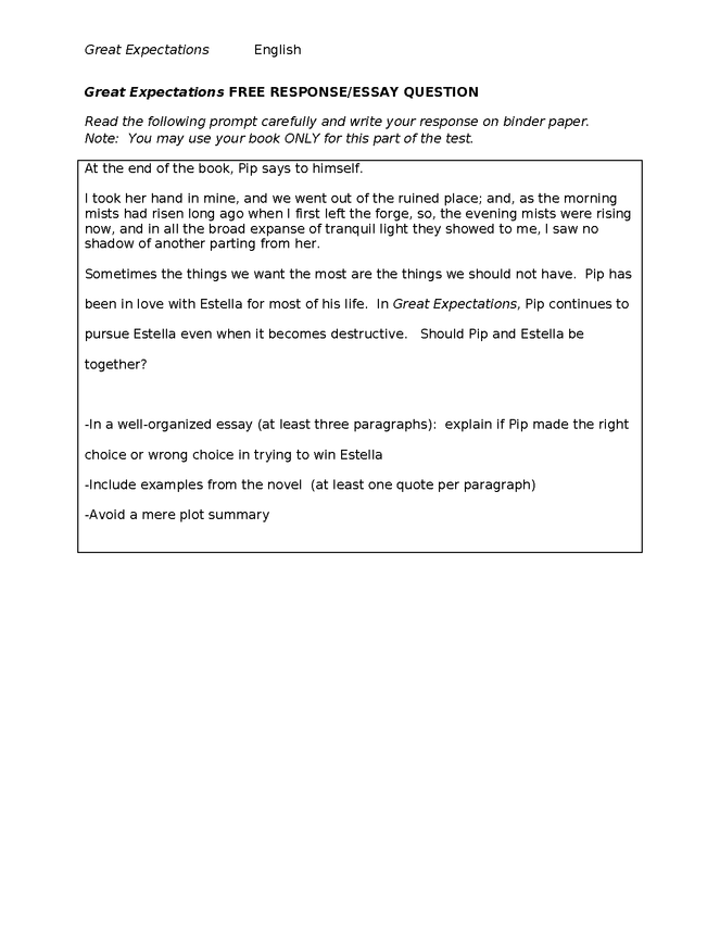 great expectations ap-style free response essay question preview image 1