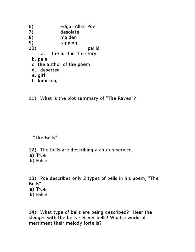 edgar allen poe comprehensive unit test preview image 2