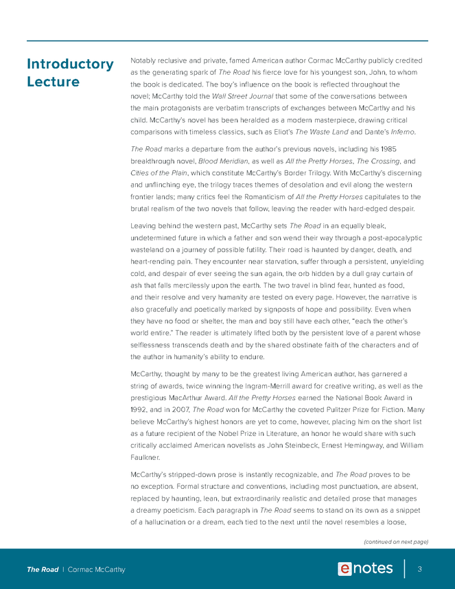 the road enotes lesson plan preview image 3