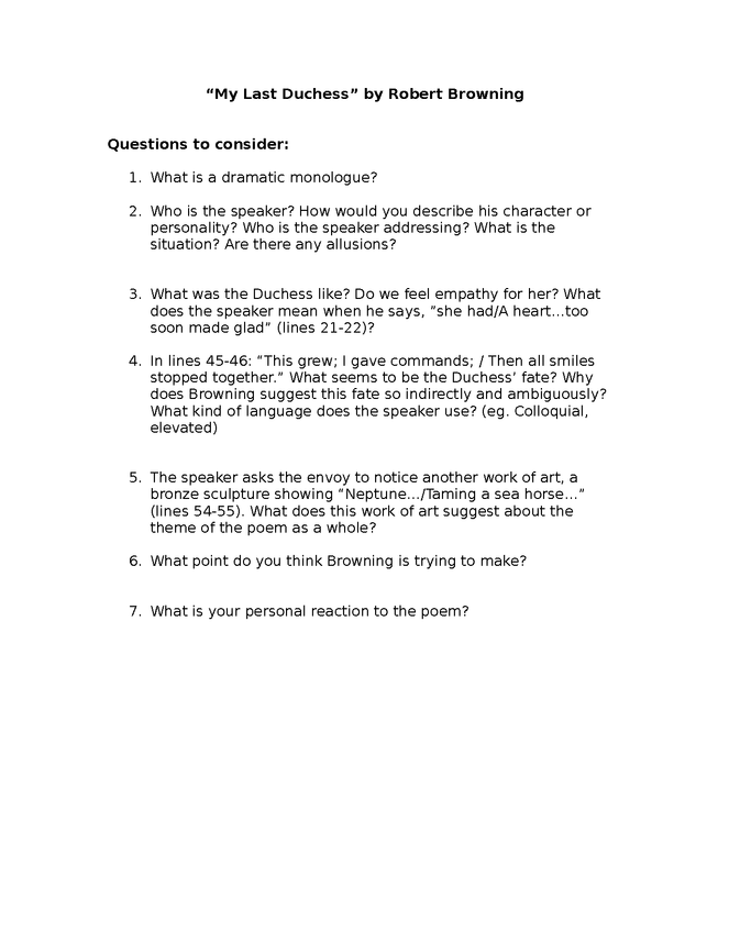 """questions to consider for """"my last duchess"""" by robert browning preview image 1"""