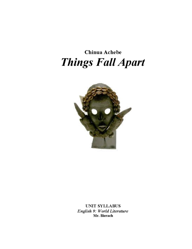 syllabus: achebe, things fall apart preview image 1