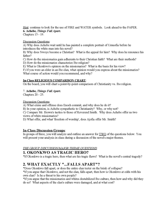 syllabus: achebe, things fall apart preview image 5