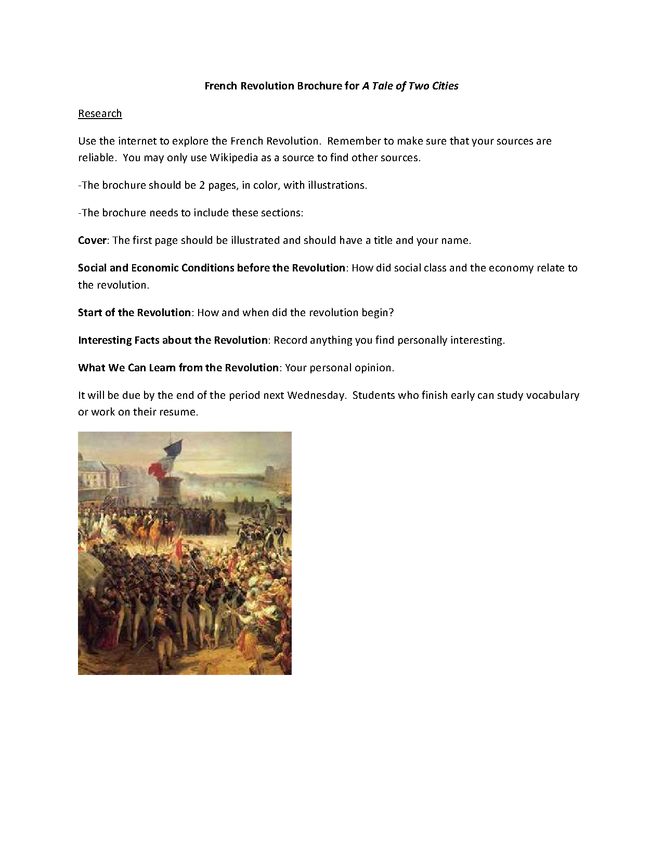 a tale of two cities research activity: french revolution brochure preview image 1