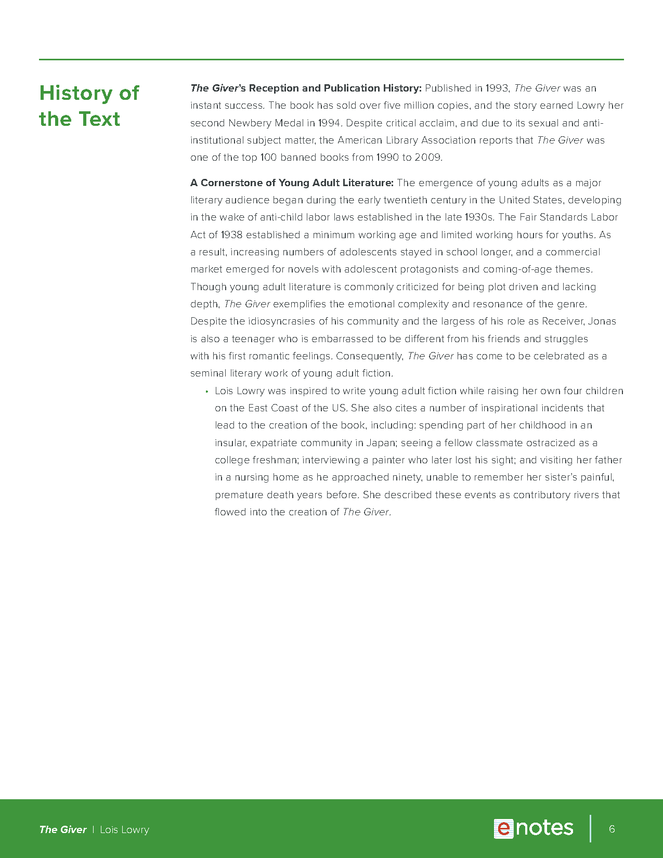 the giver enotes teaching guide preview image 6