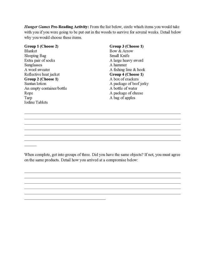 hunger games pre-reading activity & journal project preview image 1