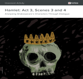 Hamlet Act 3, Scenes 3 and 4 Dialogue Analysis Activity book cover