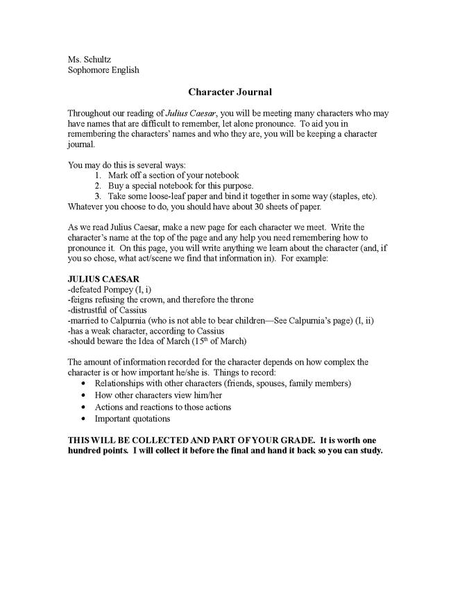 julius caesar character journal preview image 1