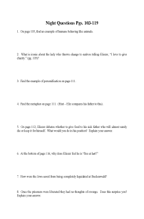 """Cover image of """"Night"""" Study Questions Pgs. 103-119"""