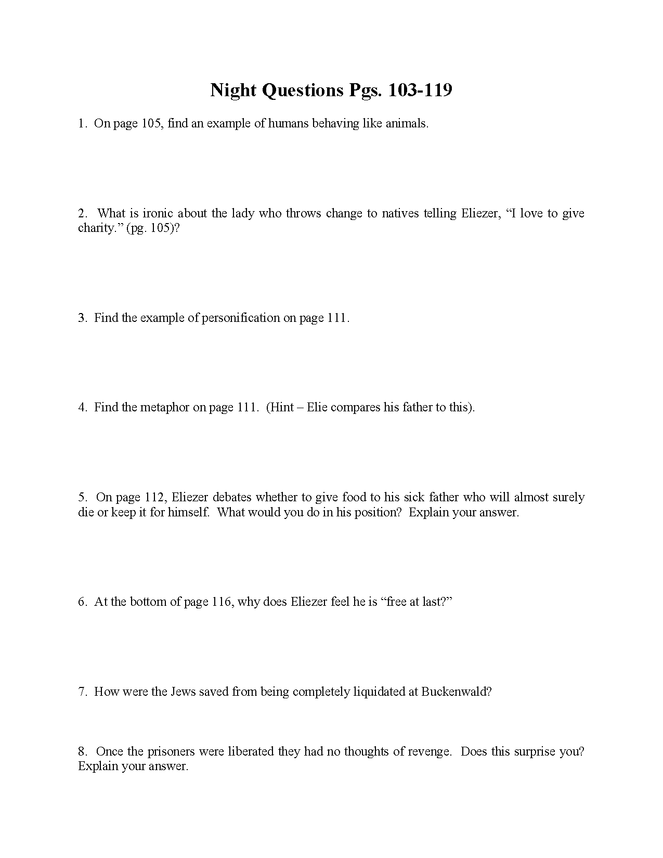 """""""night"""" study questions pgs. 103-119 preview image 1"""