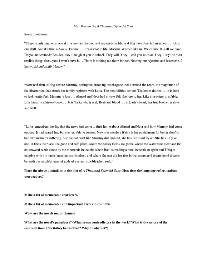 a thousand splendid suns - mini review preview image 1