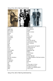 Cover image of Slang of the 1920's w/s and key