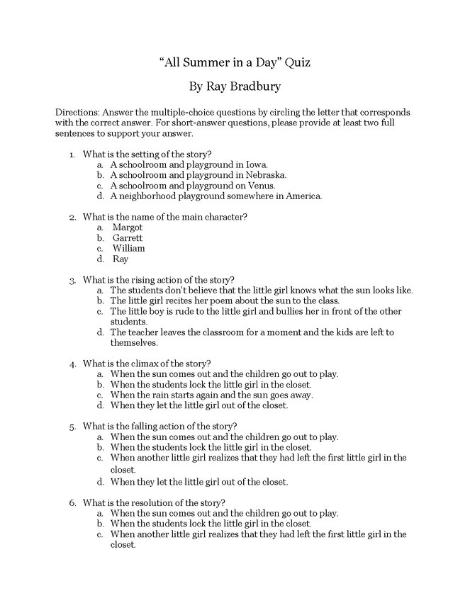 all summer in a day--quiz w/answers preview image 1