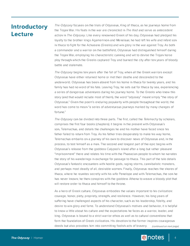 the odyssey enotes lesson plan preview image 4