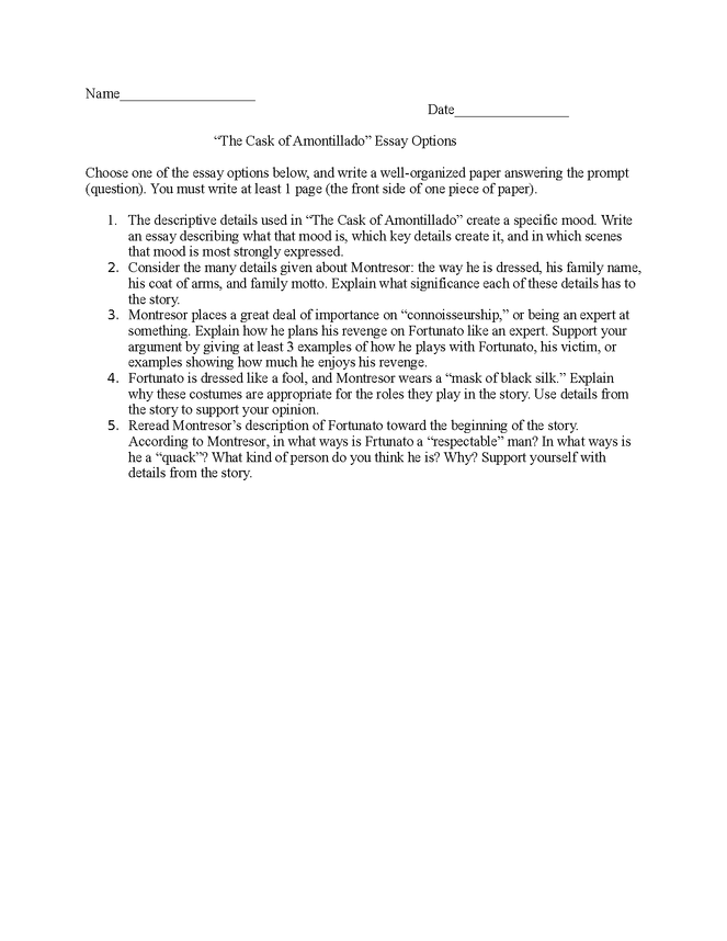 cask of amontillado essay prompts preview image 1