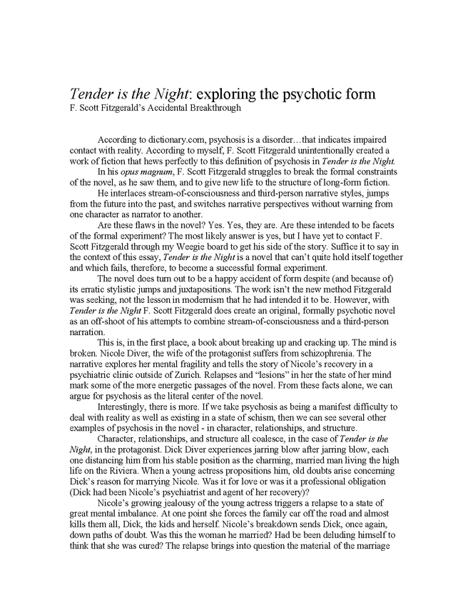 tender is the night: exploring the psychotic form preview image 1