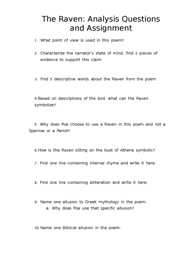 the raven: questions and writing assignment preview image 1