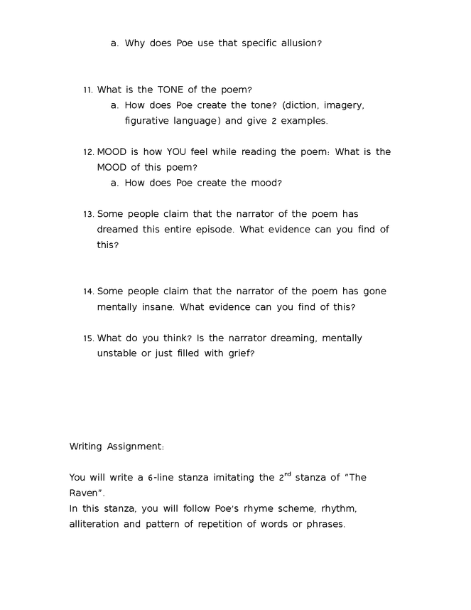 the raven: questions and writing assignment preview image 2