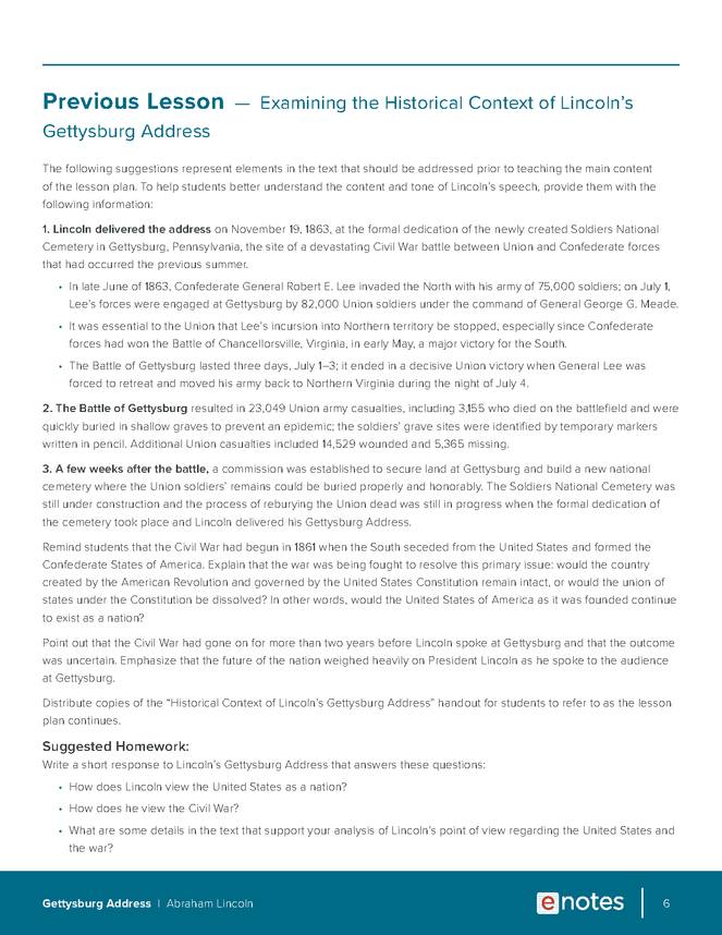gettysburg address lesson plan preview image 6