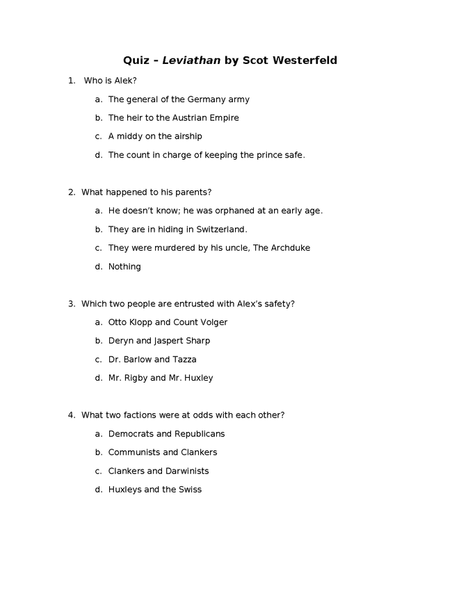 quiz for leviathan by scott westerfeld preview image 1