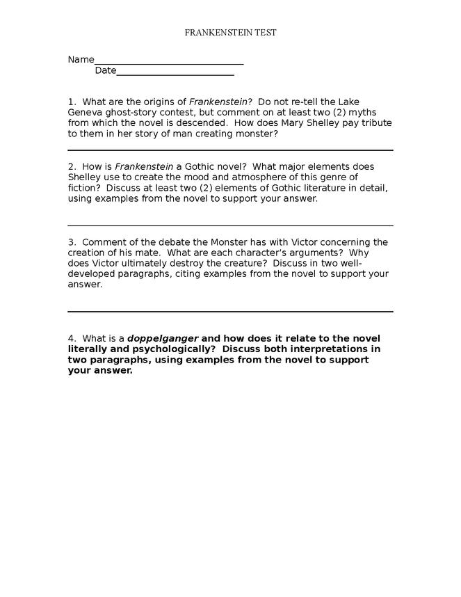 frankenstein essay test preview image 1