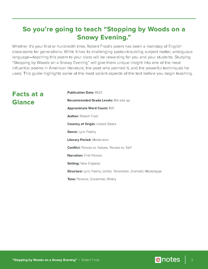 stopping by woods on a snowy evening enotes teaching guide preview image 3