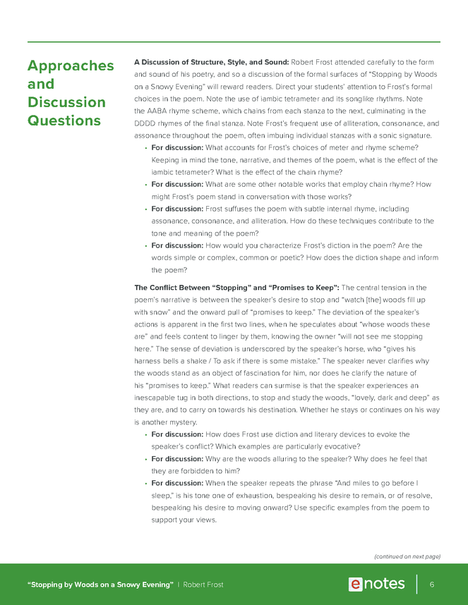 stopping by woods on a snowy evening enotes teaching guide preview image 6