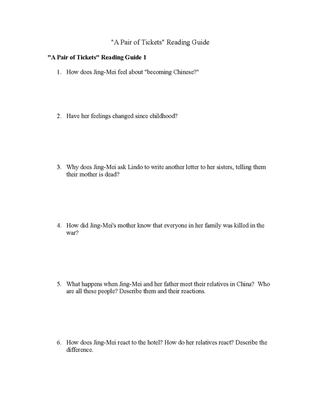 """the joy luck club """"a pair of tickets"""" (last chapter) reading guide preview image 1"""