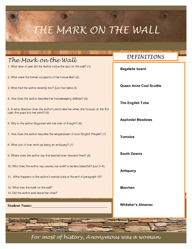 virginia woolf- the mark on the wall preview image 2