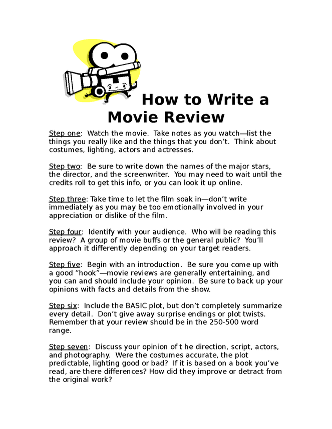 how to write a movie review  this is a guide for