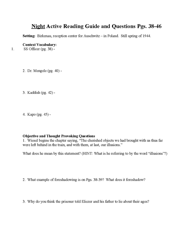 """night"" study questions pgs. 38-46 preview image 1"