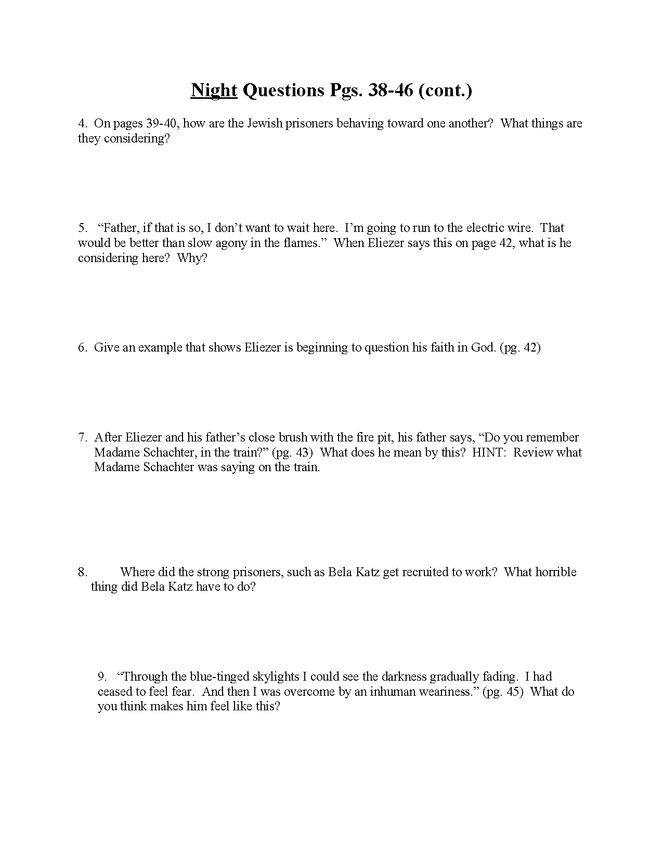 """night"" study questions pgs. 38-46 preview image 2"