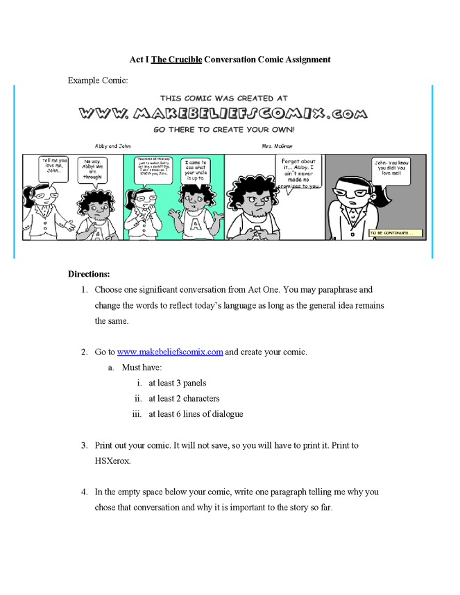 the crucible act i conversation comic assignment preview image 1