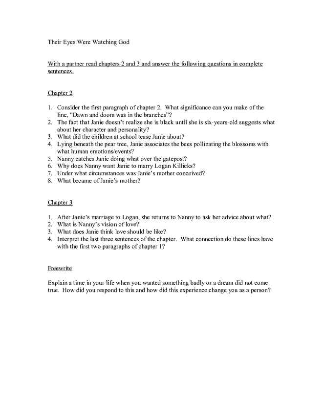 study guide for chapters 2-3 of their eyes were watching god preview image 1