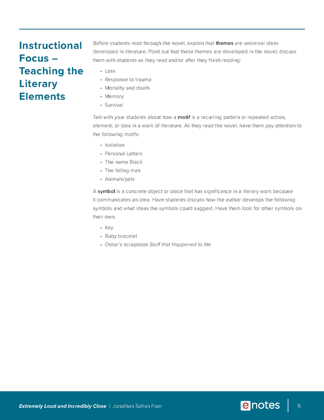 extremely loud and incredibly close enotes lesson plan preview image 6