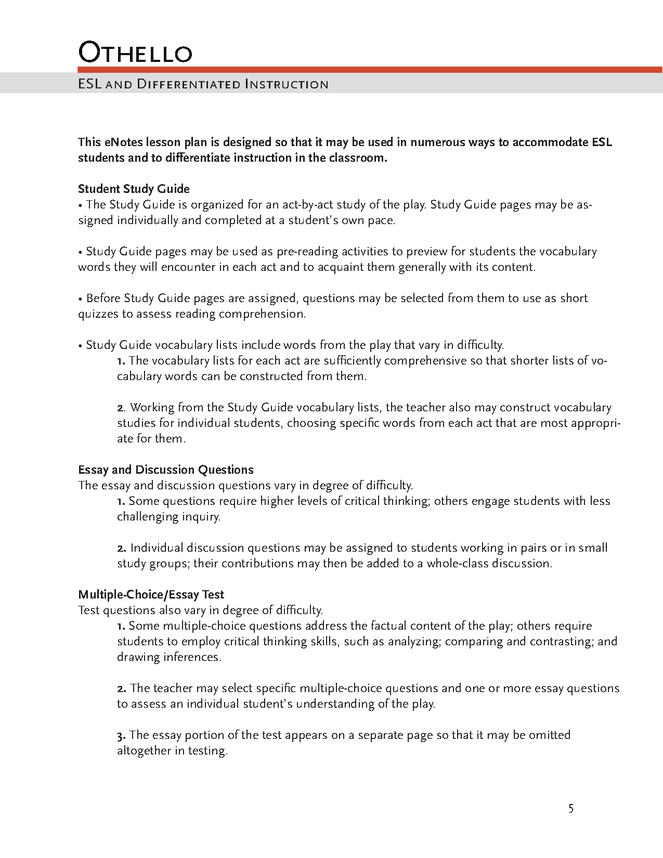 Science And Literature Essay Othello Enotes Lesson Plan Essay About Science And Technology also English Class Essay Othello Enotes Lesson Plan  Enotes Lesson Plans Have  Activities What Is A Thesis Statement In A Essay