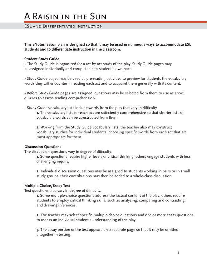 Essay On Sustainability A Raisin In The Sun Enotes Lesson Plan Personal Profile Essay also Who Am I Essay Example A Raisin In The Sun Enotes Lesson Plan  Enotes Lesson  Activities Essay Family