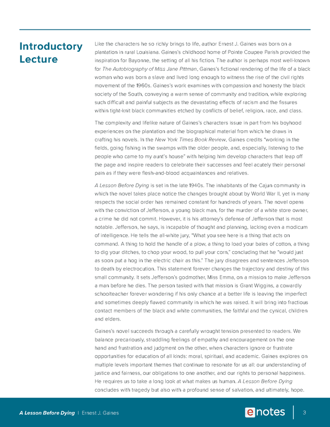 a lesson before dying enotes lesson plan preview image 3