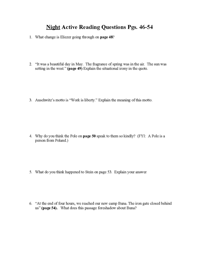 """""""night"""" study questions pgs. 46-54 preview image 1"""