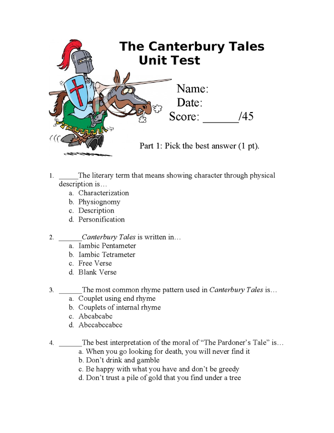 canterbury tales unit test preview image 1