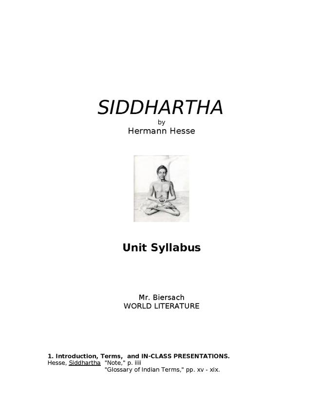 syllabus: hesse, siddhartha preview image 1