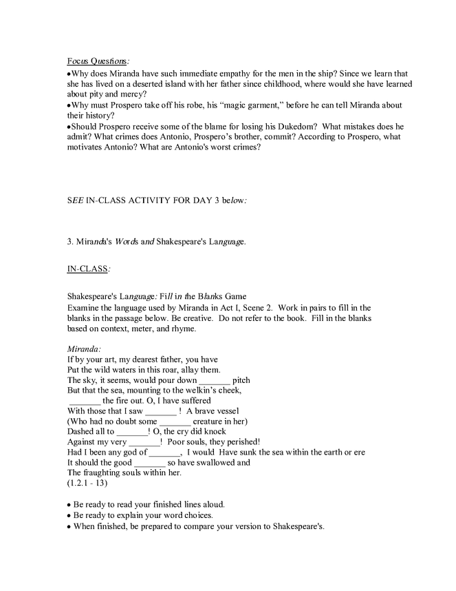 """syllabus: shakespeare, """"the tempest"""" preview image 3"""