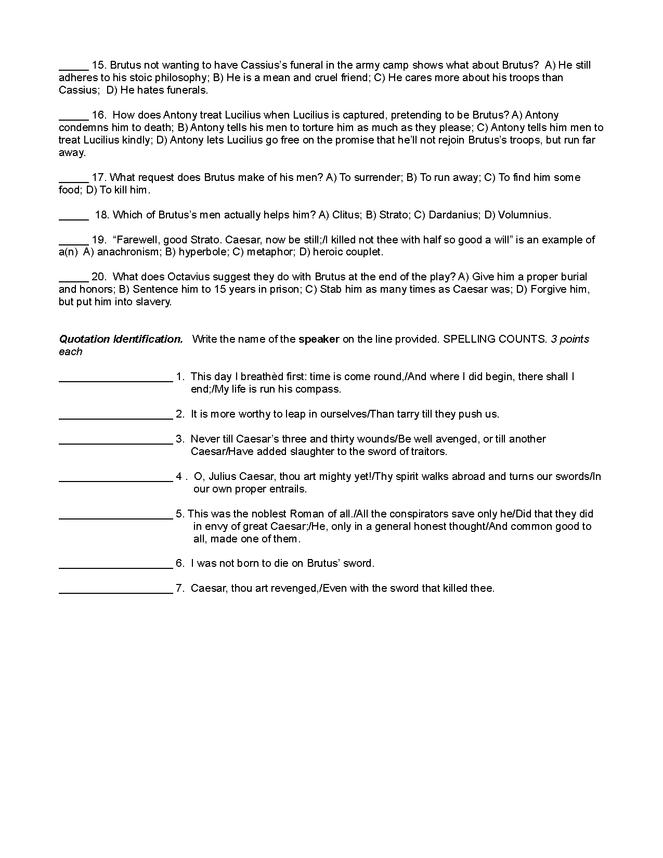 julius caesar quiz act five preview image 2