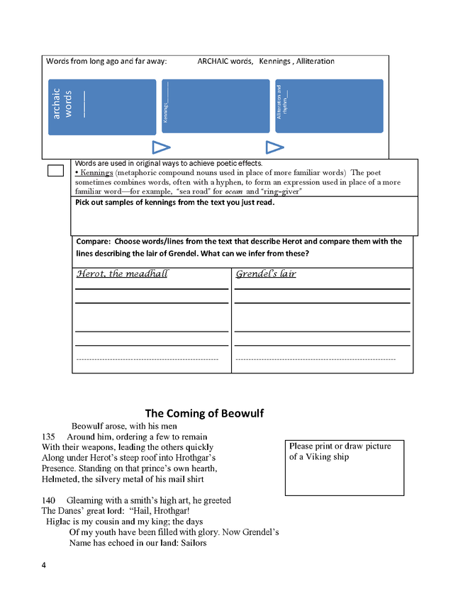 lesson on beowulf and activities preview image 4